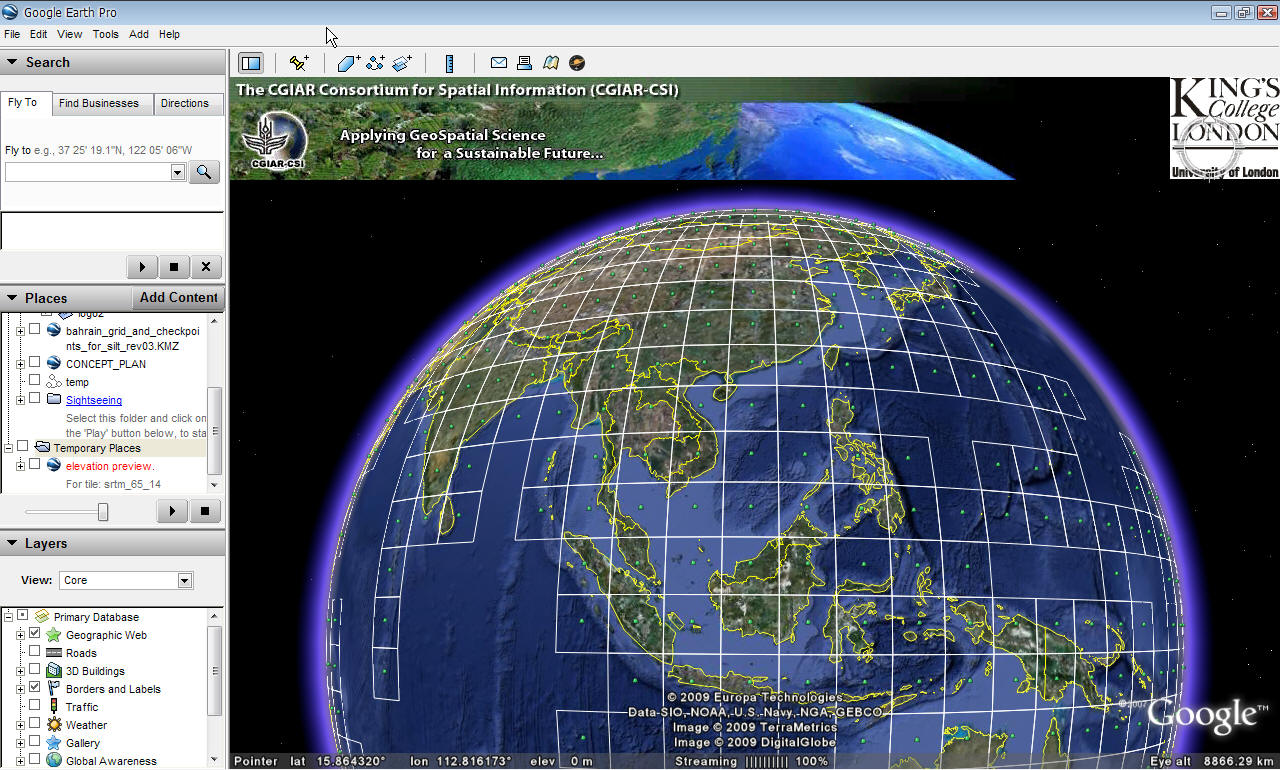 ภาพแสดง Google Earth แสดงกริด 5 degree x 5 degree ของ SRTM DEM v.4
