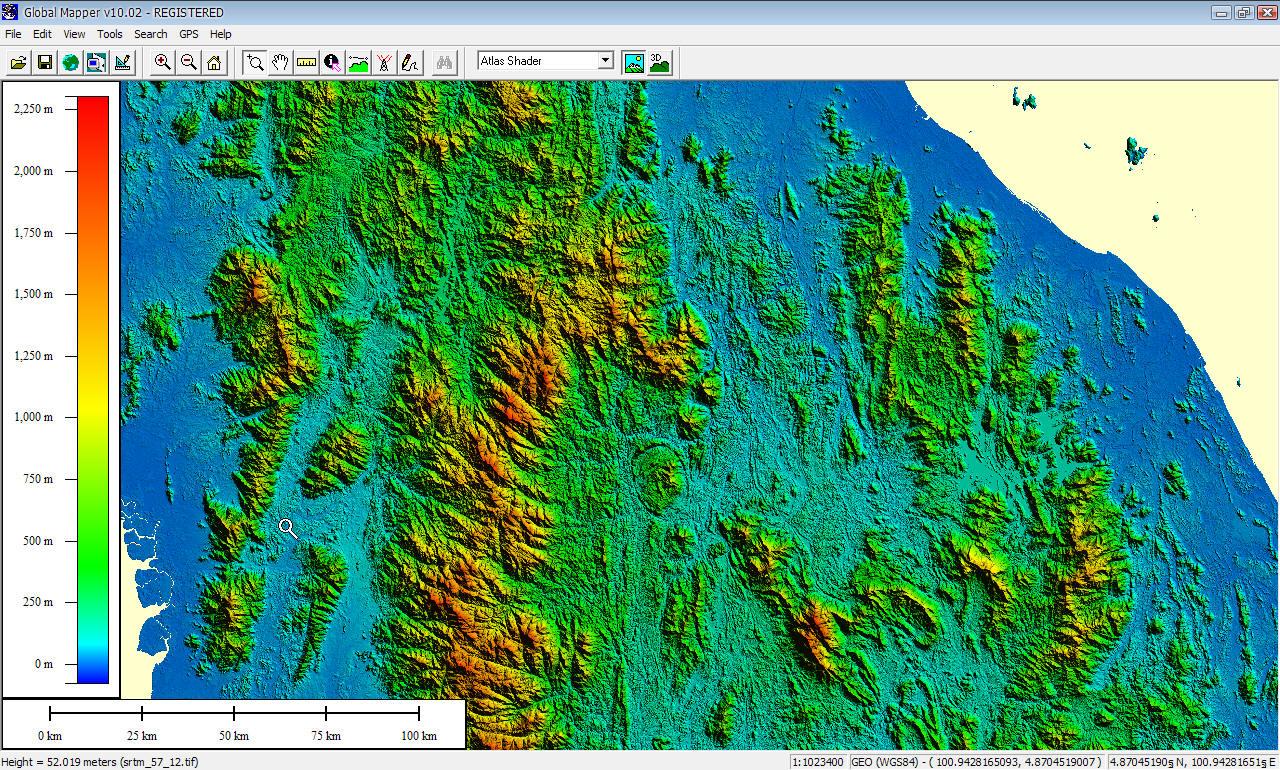 แสดง SRTM DEM บางส่วนของมาเลเซียบนโปรแกรม Global Mapper V.10