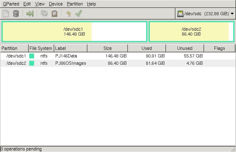 GParted แสดง External Harddisk ที่ต่อผ่านพอร์ท USB สำหรับเขียน Image
