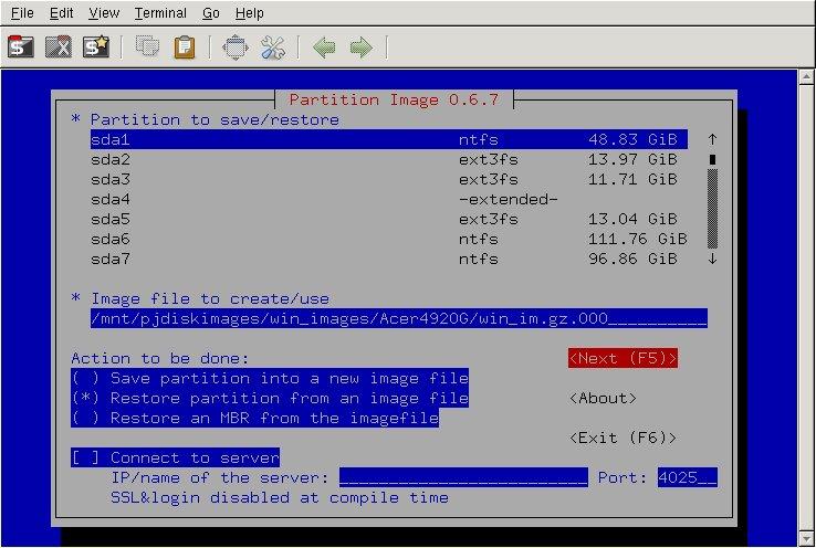 การตั้งค่าให้ System Rescue CD เพื่อ restore image