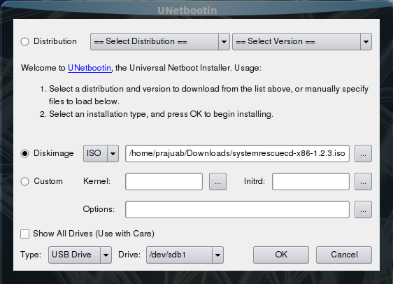 Select ISO image file for UNetbootin