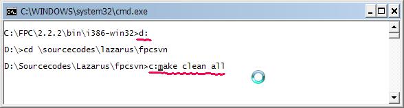 เปลี่ยน drive ทำการคอมไพล์ fpc svn